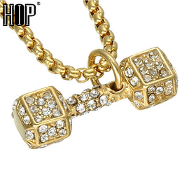 RHINESTONE DUMBBELL NECKLACE