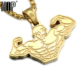 Muscle Sports Gym Fitness Pendant Necklaces For Men Jewelry