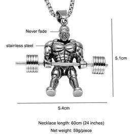 Barbell Dumbbell Men Necklace Muscle Sports