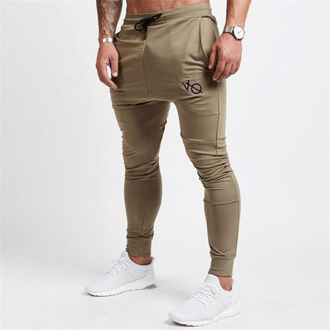 New Gyms joggers Men Workout Fitness Print Cotton