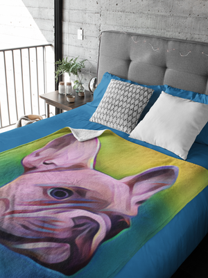 French Bulldog Colorful Throw Blanket