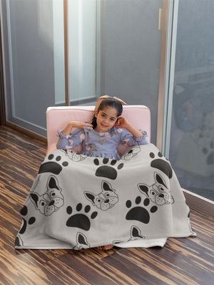 Dogs and Paws Grey Throw Blanket