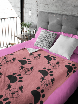 Dogs and Paws Pink Throw Blanket
