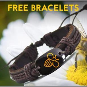 Free  Bee Leather Bracelet.