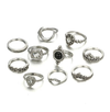 10 Piece Moon Crystal Ring Set
