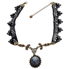 Handmade Black Floral Necklace with Copper Pendant