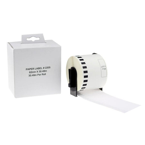 Brother DK-2205-Papier continu BLANC 62mm*30.48m compatible