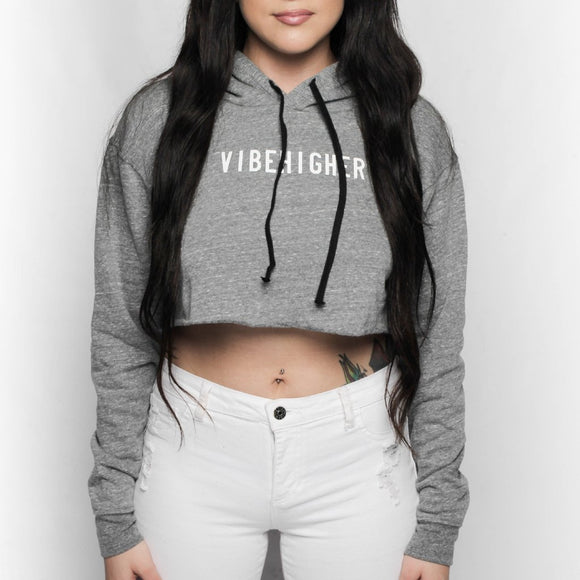 Vibe Higher Cropped Hoodie (DARK GREY)