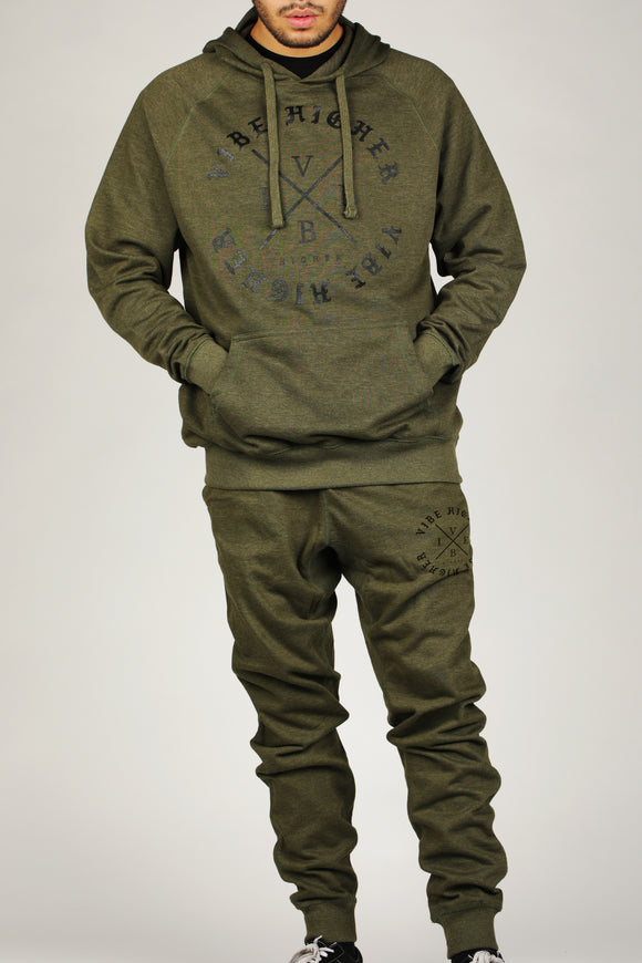 Vibe Higher Circle Terry Hoodie/Joggers Set (Green)