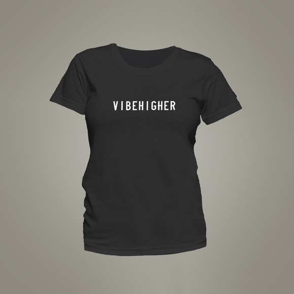 Vibe Higher Women's Crew Neck Tee (BLACK)
