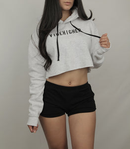 Vibe Higher Cropped Hoodie (ASH GRAY)