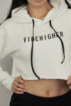 Vibe Higher Cropped Hoodie (WHITE)