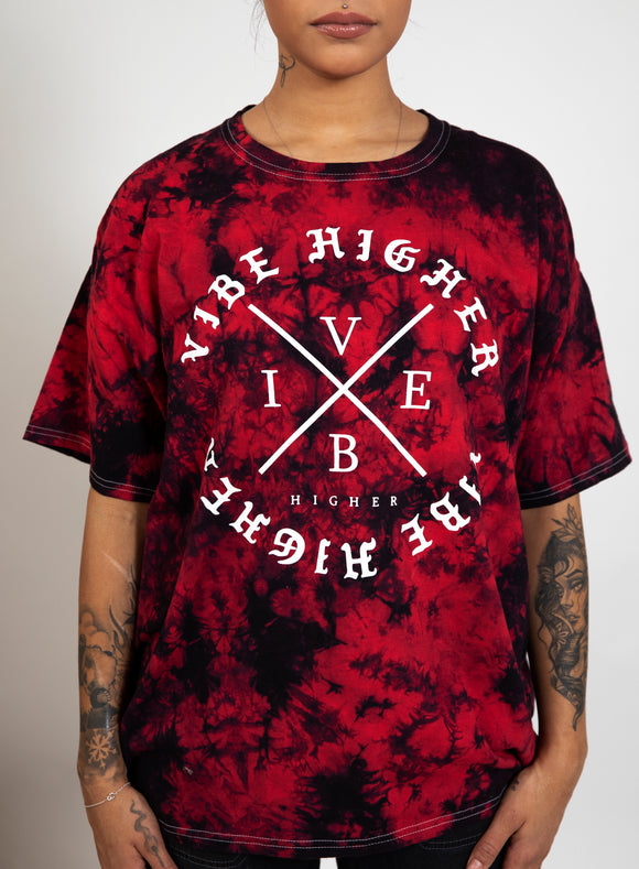 VIBE HIGHER Red Tie Dye T-Shirt