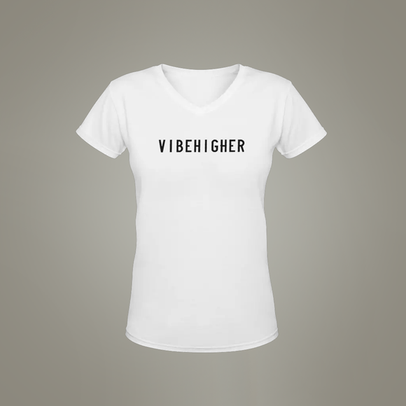 Vibe Higher Women's V-Neck (WHITE)