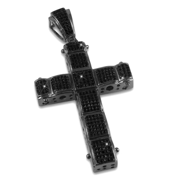 Black Bubble CZ Micro Pave Cross