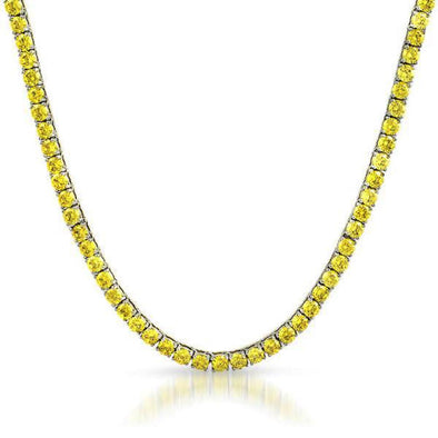 Yellow 4MM CZ NO FADE Stainless Steel 1 Row Tennis Chain