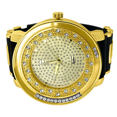 Gold Floating Big Bling Black Rubber Watch