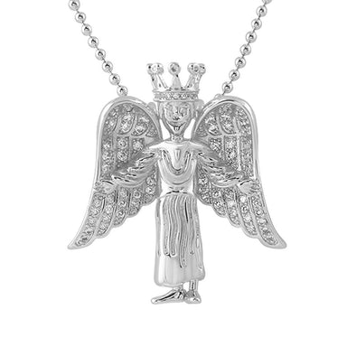 Crowned Angel Wings Mini Pendant CZ Rhodium