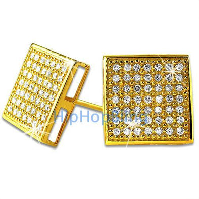 XL Box Gold Vermeil CZ Micro Pave Iced Out Earrings .925 Silver