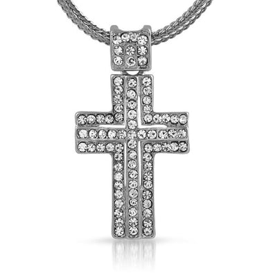 Iced Rhodium Cross  Chain Small