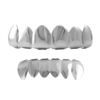 All Shiny Silver Grillz Top  Bottom Set