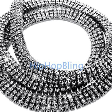 3 Row Bling Bling Rhodium Iced Out Chain