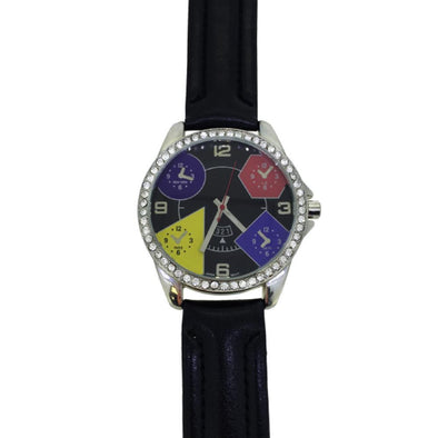 Black Leather 5 Timezone Watch Bezel