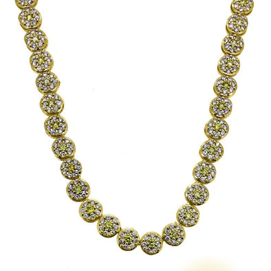 CZ White and Yellow Cluster Chain
