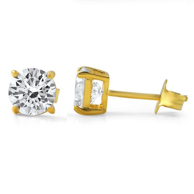 Round Cut CZ Stud Earrings Gold .925 Silver