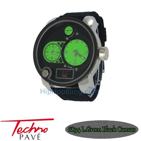 Green Dual Time Zones Silver Watch Black Canvas Band