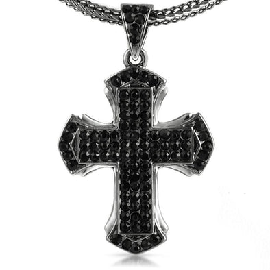 Pointed Black Cross Pendant  Chain Small