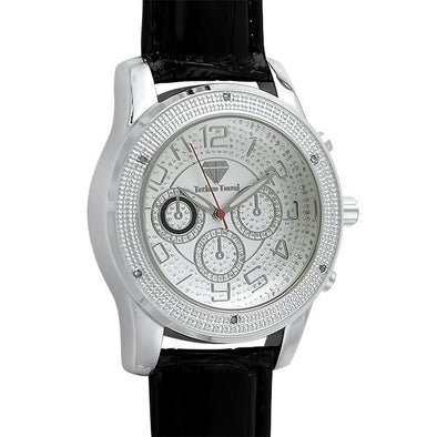 Sport Genuine Diamond Silver Black Leather Watch
