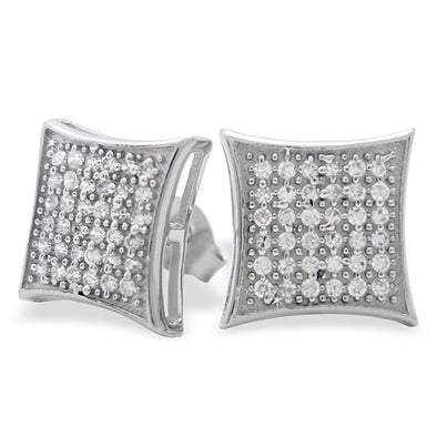 Large Puffed Kite CZ Micro Pave Earrings .925 Silver