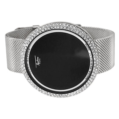 Silver Mesh Band Round LED Touch Screen Watch