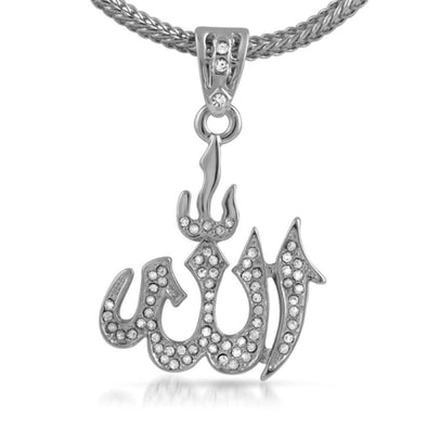 Rhodium Allah Small Pendant  Chain