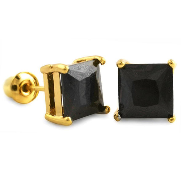Black CZ Diamond Square Stud Earrings Gold (DOZEN PAIRS)