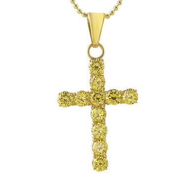 6MM Canary CZ Gold Stainless Steel Cross