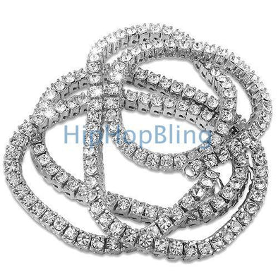 Bling Bling Fully Iced Out Rhodium 1 Row Chain