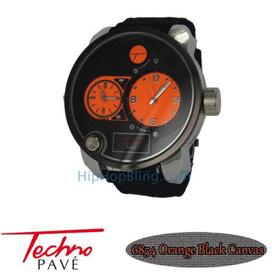 Orange Dual Time Zone Silver Watch Black Canvas Band