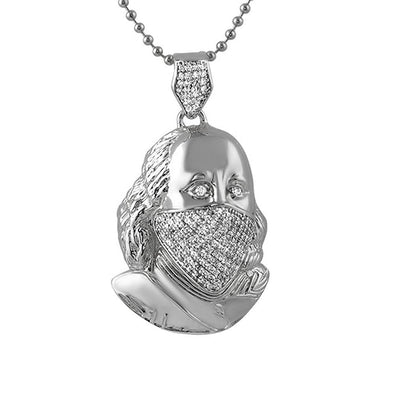 Ben Franklin Rhodium Mask CZ Pendant