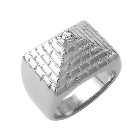 Pyramid Stainless Steel Ring CZ