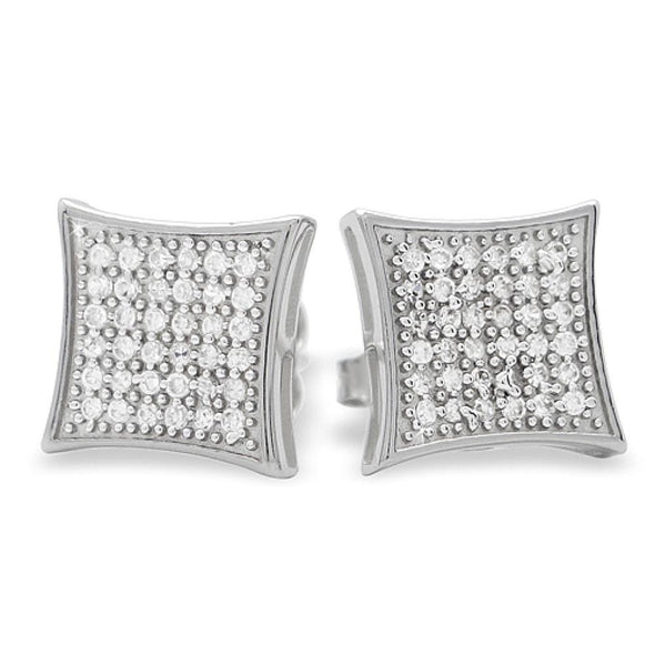 Large Kite CZ Micro Pave Earrings .925 Silver