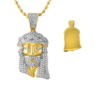 CZ Gold Micro Jesus Pendant Solid Back