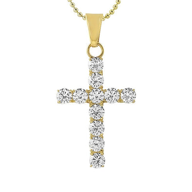 6MM CZ Cross Gold Stainless Steel