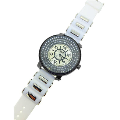 Triple Iced Under Glass Black Watch White Band