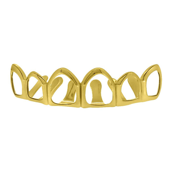 Gold Grillz 6 Outline Teeth Top