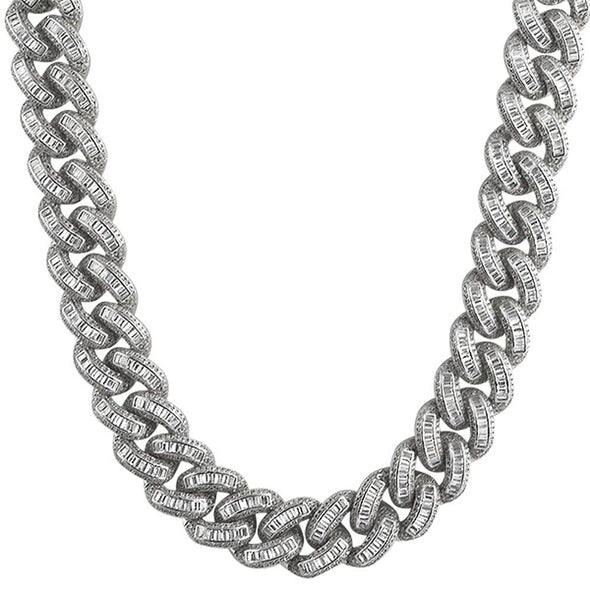 Baguette CZ 17MM Cuban Rhodium Bling Chain