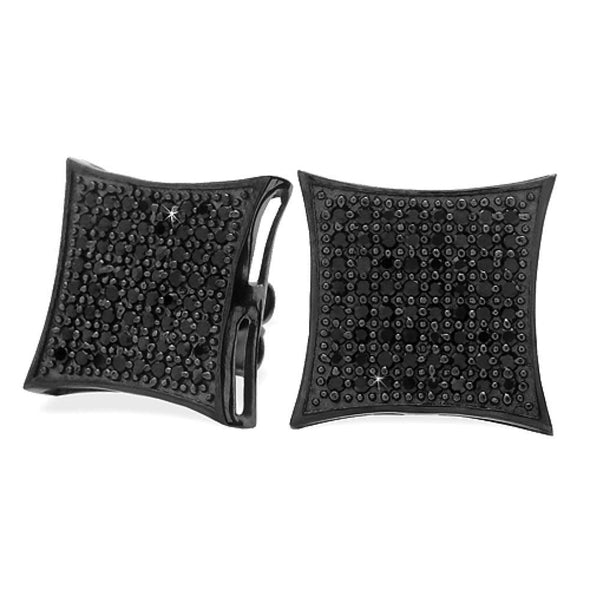 All Black XXL Kite .925 Silver CZ Micro Pave Earrings