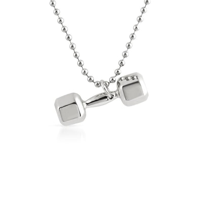 3D Shiny Dumbbell Weight Pendant Rhodium