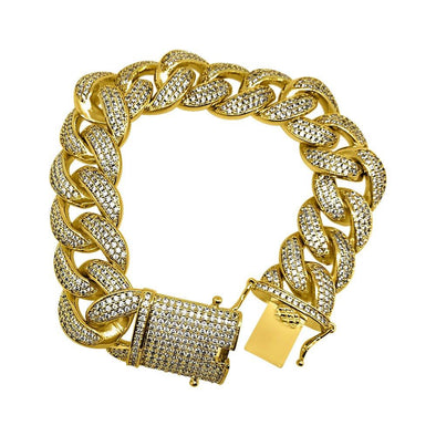 .925 Silver 19MM Gold Miami Cuban Ice Lock Bling Bracelet CZ